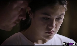 Crying exploited stepdaughter Kendra Spade soiled in sperm!