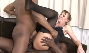 Interracial Threesome Granny bounded hard in the brush ass and pussy hard anal