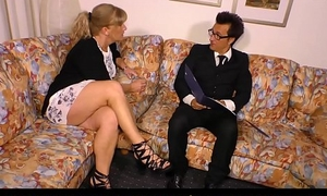 HAUSFRAU FICKEN - German blonde mature fit together fucked surpassing couch
