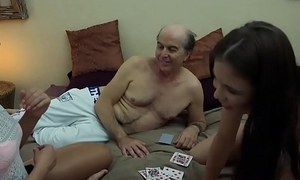 Ugly Grandpa vs Magnificent Young Girls in hardcore trinity fuck together with suck