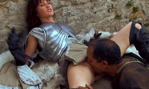 Nymphomaniac brunette with small cans serves 3 dicks outdoors